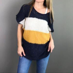 WILDFOX Estate striped open knit Sweater in Oxford